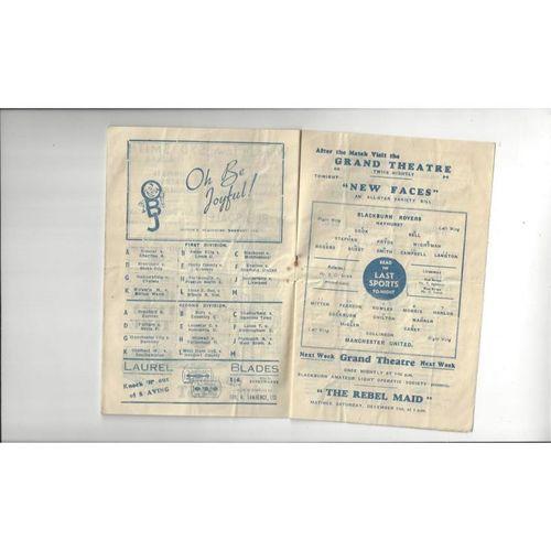 1946/47 Blackburn Rovers v Manchester United Football Programme