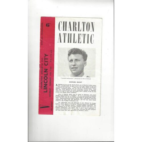 1960/61 Charlton Athletic v Lincoln City Football Programme