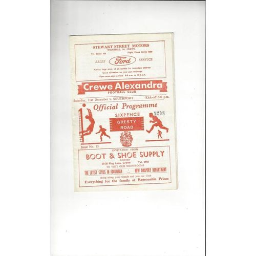1966/67 Crewe Alexandra v Southport Football Programme