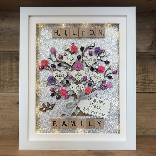 "Large LED "" floral "" family tree frame"