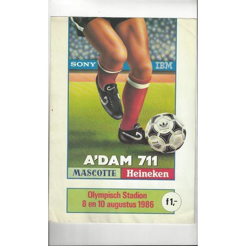 Adam 711 Tournament. Ajax, Manchester United, D.Kiev, Botafogo Programme 1986/87