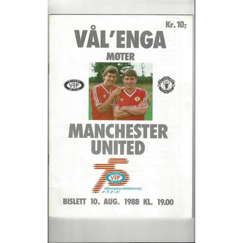 Valerengen v Manchester United Friendly Football Programme 1988/89