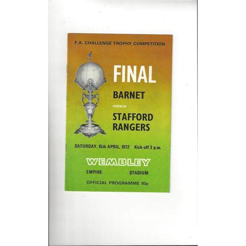 1972 Barnet v Stafford Rangers Trophy Final Football Programme