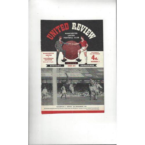 1961/62 Manchester United v Tottenham Hotspur Football Programme