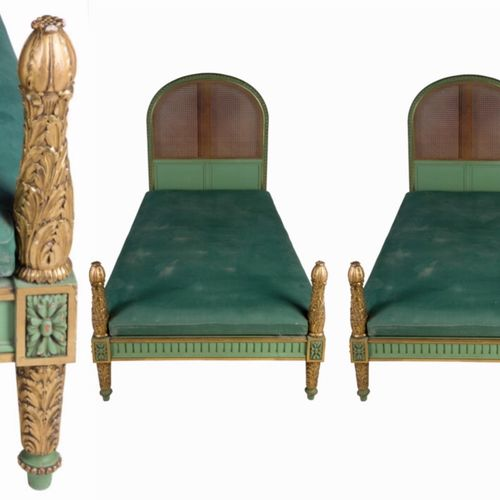 Italian carved gilt and painted beds