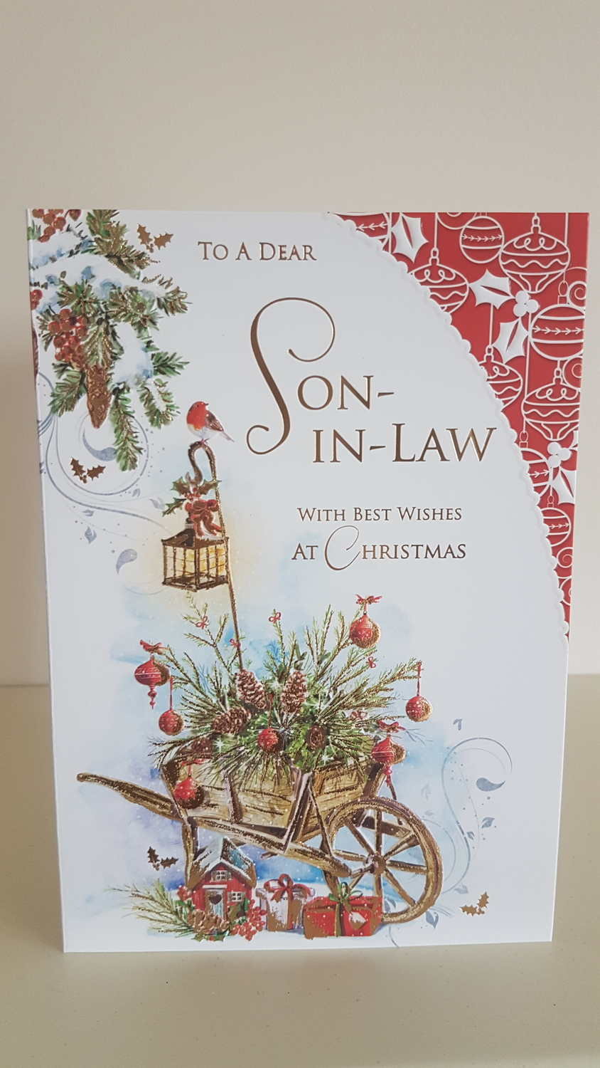 Son-in-Law Red Robin Christmas Card | Remember that card | Greeting ...