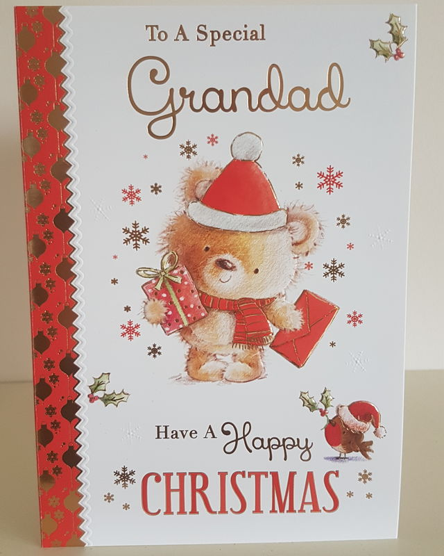 Grandad Teddy Red Robin Christmas Card Remember That Card