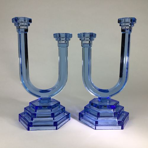 Pair of Art Deco blue glass candlesticks