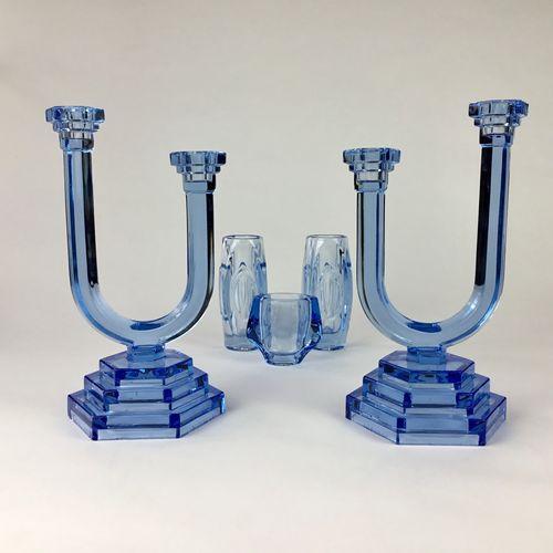 Pair of Art Deco blue glass candlesticks