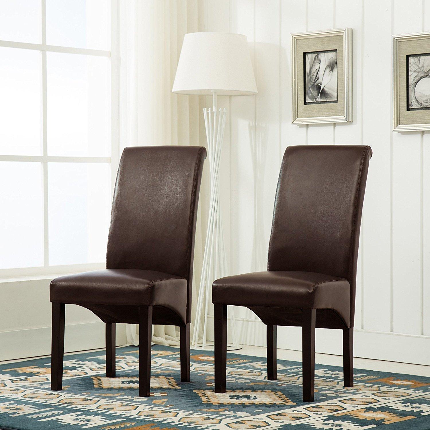 Faux Leather Roll Top Scroll High Back Dining Chairs Wood Legs Furniture Set New