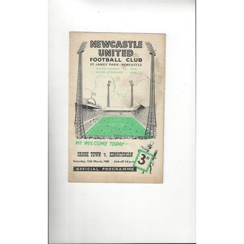 1959/60 Crook Town v Kingstonian Amateur Cup Semi Final Football Programme