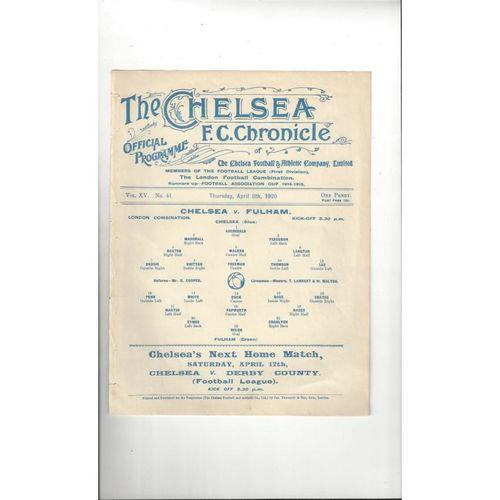 1919/20 Chelsea v Fulham London Combination Football Programme April