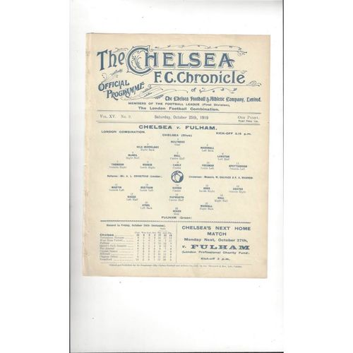 1919/20 Chelsea v Fulham London Combination Football Programme October