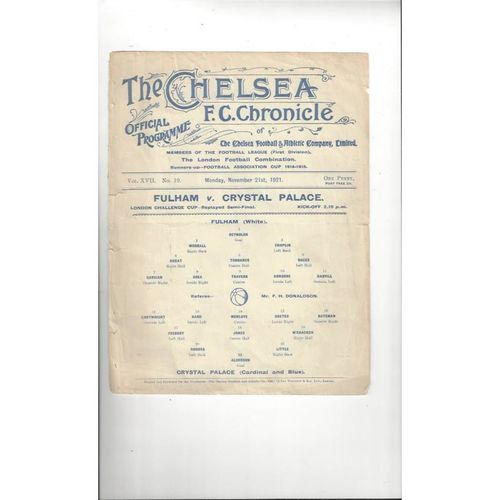 1921/22 Fulham v Crystal Palace Combination Cup Semi Final Replay Football Programme @ Chelsea