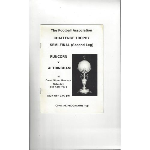 1977/78 Runcorn v Altrincham Trophy Semi Final Football Programme
