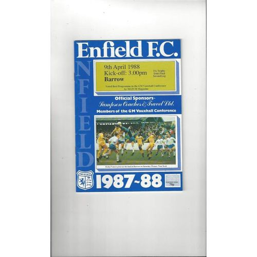 1987/88 Enfield v Barrow Trophy Semi Final Football Programme