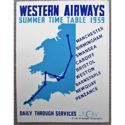 Western Airways Summer timetable 1939