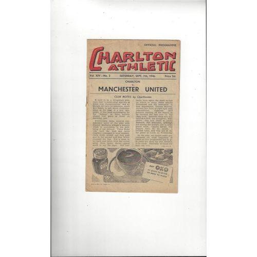 1946/47 Charlton Athletic v Manchester United Football Programme