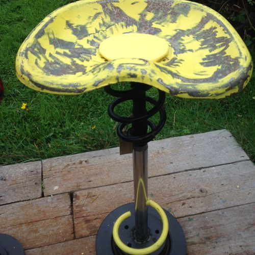 Upcycled metal car part stools