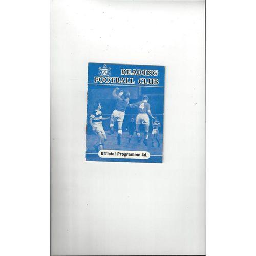 1960/61 Reading v Swindon Town Football Programme