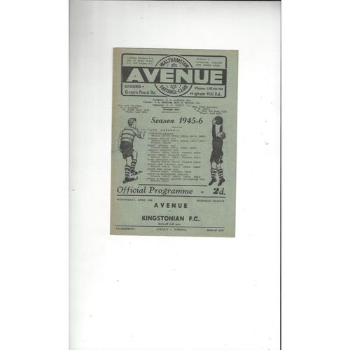 1945/46 Walthamstow Avenue v Kingstonian Football Programme