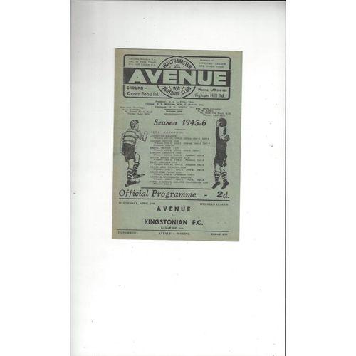 1945/46 Walthamstow Avenue v Kingstonian Football Programme