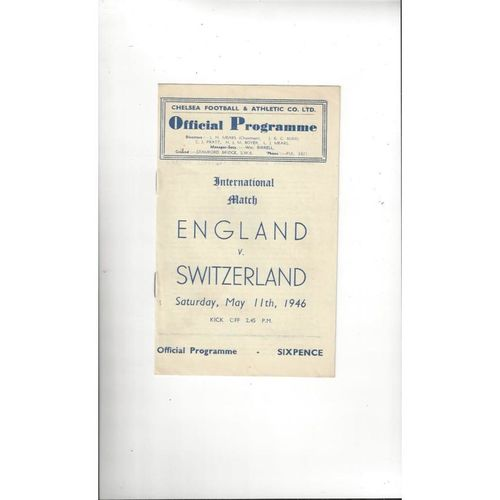 1946 England v Switzerland Football Programme @ Chelsea