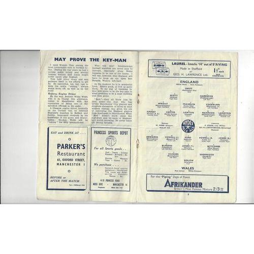 1946 England v Wales Football Programme @ Manchester City