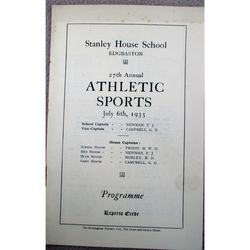 Stanley House School Edgbaston 1935 Sports Day programme