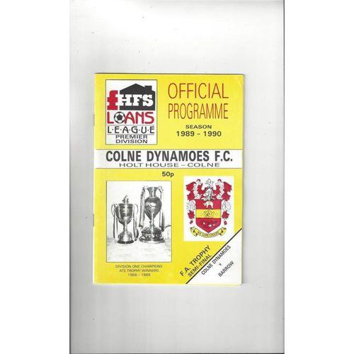 1989/90 Colne Dynamoes v Barrow Trophy Semi Final Football Programme