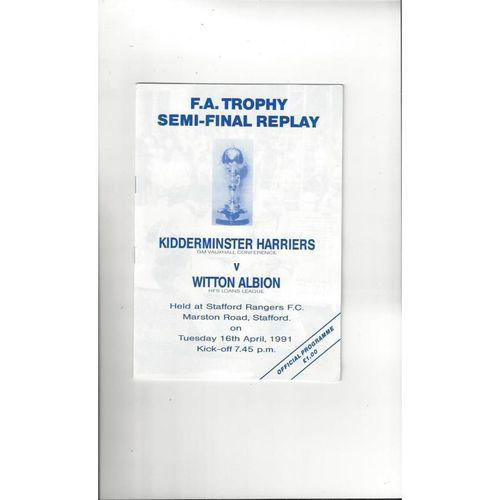 1990/91 Kidderminster Harriers v Witton Albion Trophy Semi Final Rep Football Programme