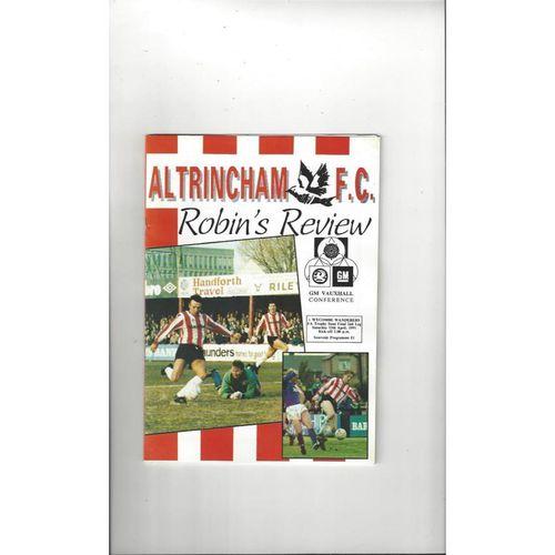 1990/91 Altrincham v Wycombe Wanderers Trophy Semi Final Football Programme