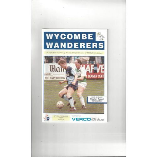 1990/91 Wycombe Wanderers v Altrincham Trophy Semi Final Football Programme