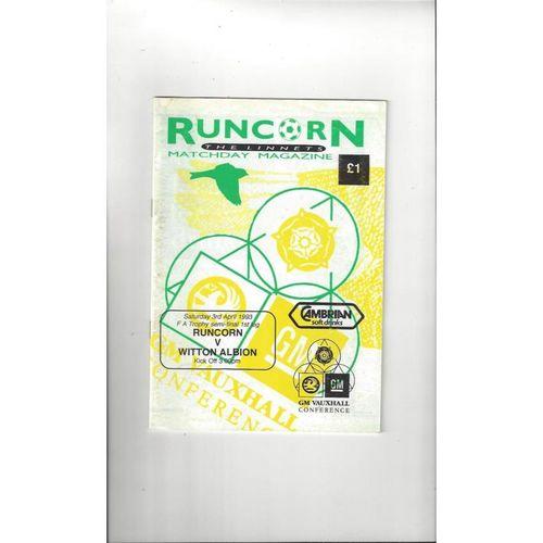 1992/93 Runcorn v Witton Albion Trophy Semi Final Football Programme