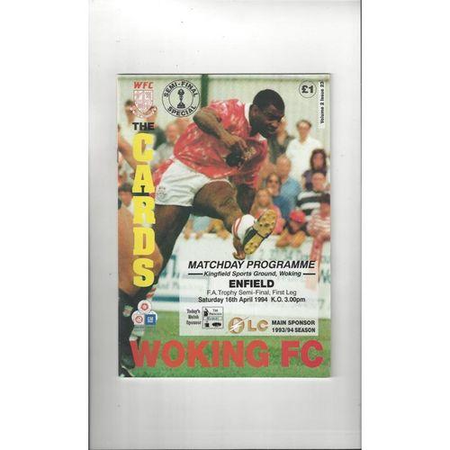 1993/94 Woking v Enfield Trophy Semi Final Football Programme
