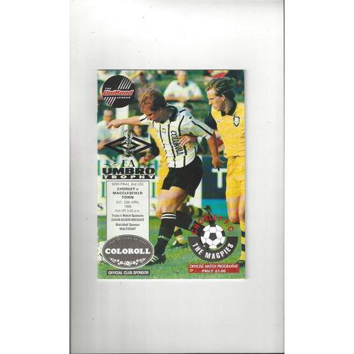 1995/96 Chorley v Macclesfield Town Trophy Semi Final Football Programme