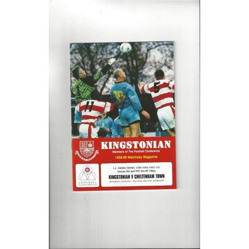 1998/99 Kingstonian v Cheltenham Town Trophy Semi Final Football Programme