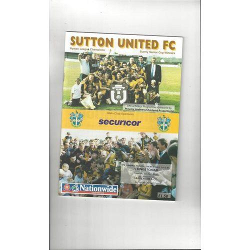 1999/00 Sutton United v Kingstonian Trophy Semi Final Football Programme