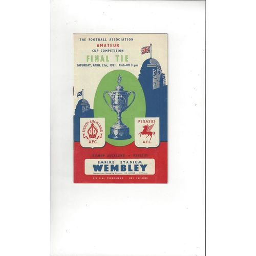 1951 Bishop Auckland v Pegasus Amateur Cup Final Football Programme