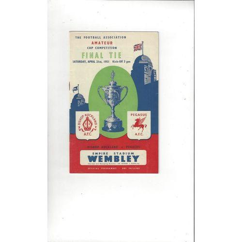 1951 Bishop Auckland v Pegasus Amateur Cup Final Football Programme