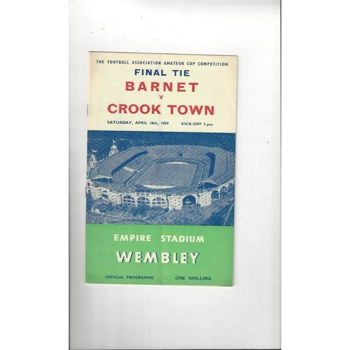 1959 Barnet v Crook Town Amateur Cup Final Football Programme