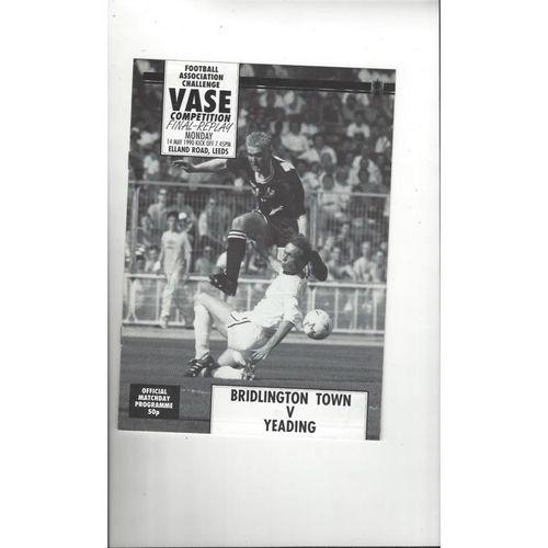 1990 Bridlington Town v Yeading FA Vase Final Replay Football Programme
