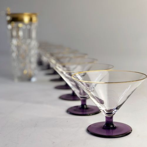 9 amythyst and gold low cocktail champagne glasses