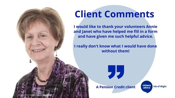 Client Comments - Pension Credit