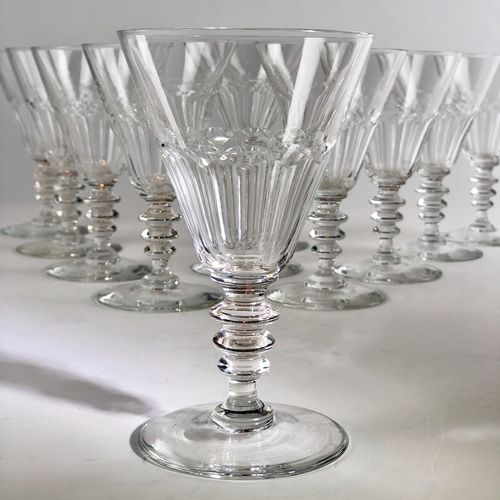 11 Art Deco Val Saint Lambert wine goblets
