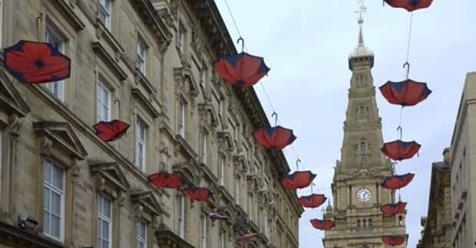 Poppy umbrellas installed in Halifax town centre