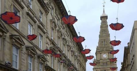 Poppy umbrellas installed in Halifax town centre