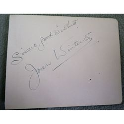 Joan Winters, 1907-2001, Singer and actress, Autograph