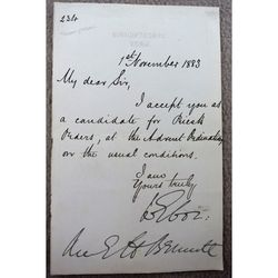 William Thomson Archbishop of York 1883 Letter