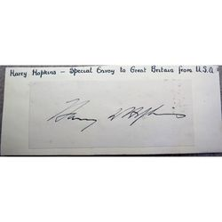 Harry Hopkins Signature Roosevelt Envoy to Churchill